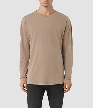 Hombres Jovian Long Sleeve Crew T-Shirt (BATTLE BROWN)