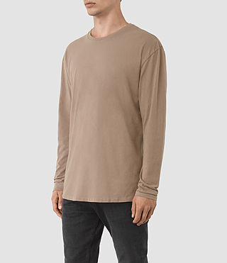 Hommes Jovian Long Sleeve Crew T-Shirt (BATTLE BROWN) - product_image_alt_text_2