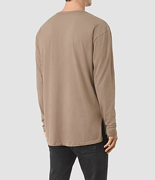 Hommes Jovian Long Sleeve Crew T-Shirt (BATTLE BROWN) - product_image_alt_text_3