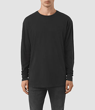 Herren Jovian Long Sleeve Crew T-Shirt (Vintage Black)