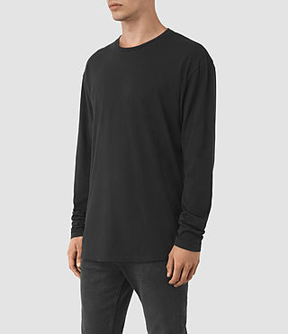 Uomo Jovian Long Sleeve Crew T-Shirt (Vintage Black) - product_image_alt_text_2