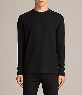 Hombres Kraus Long Sleeve Crew T-Shirt (Jet Black) -