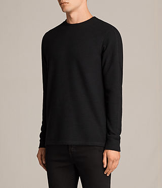 Hombres Kraus Long Sleeve Crew T-Shirt (Jet Black) - product_image_alt_text_3