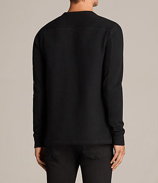Hombres Kraus Long Sleeve Crew T-Shirt (Jet Black) - product_image_alt_text_4