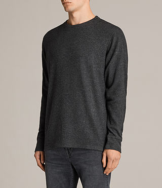 Men's Kraus Long Sleeve Crew T-Shirt (Charcoal Marl) - product_image_alt_text_2