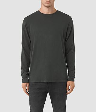 Hommes Tavern Long Sleeve Crew T-Shirt (Pewter Grey)