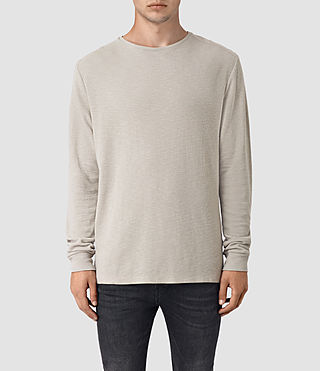 Hombres Stack Long Sleeve Crew T-Shirt (Ash Grey)