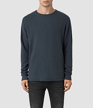 Hombres Stack Long Sleeve Crew T-Shirt (Workers Blue)