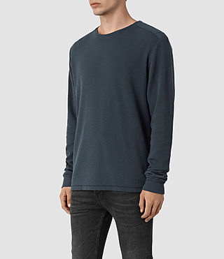 Hombres Stack Long Sleeve Crew T-Shirt (Workers Blue) - product_image_alt_text_2