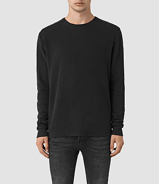 Hombres Stack Long Sleeve Crew T-Shirt (Jet Black)