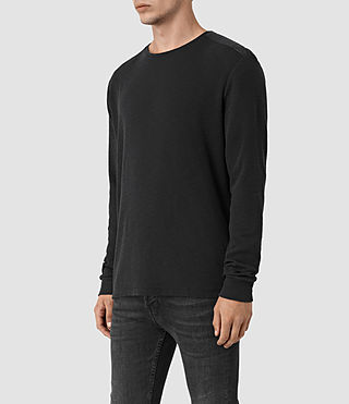 Uomo Stack Long Sleeve Crew T-Shirt (Jet Black) - product_image_alt_text_2