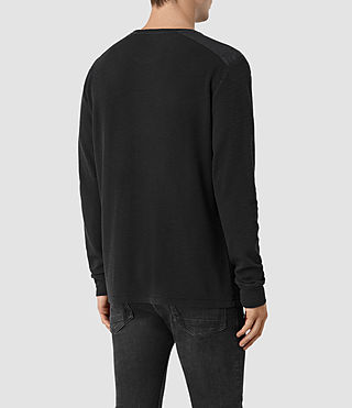 Uomo Stack Long Sleeve Crew T-Shirt (Jet Black) - product_image_alt_text_3