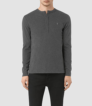 Hombres Mesa Long Sleeve Henley T-Shirt (Charcoal Marl)