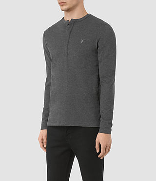 Uomo Mesa Long Sleeve Henley T-Shirt (Charcoal Marl) - product_image_alt_text_2