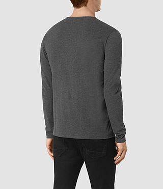 Uomo Mesa Long Sleeve Henley T-Shirt (Charcoal Marl) - product_image_alt_text_3