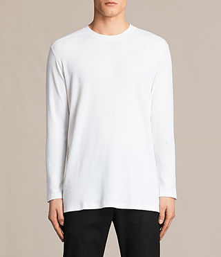 Hombres Bryan Long Sleeve Crew T-Shirt (Chalk White)