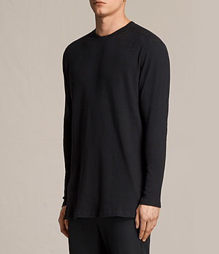 Men's Bryan Long Sleeve Crew T-Shirt (Jet Black) - product_image_alt_text_3