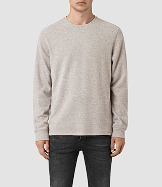 Mens Crux Long Sleeve Crew T-Shirt (TAUPE MRL/ASH GREY)