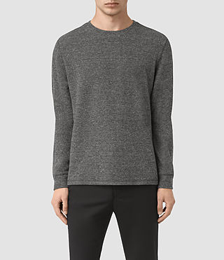 Mens Crux Long Sleeve Crew T-Shirt (JET BLK/CHARC MOUL) - product_image_alt_text_1