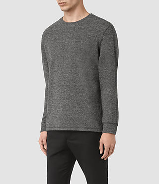 Mens Crux Long Sleeve Crew T-Shirt (JET BLK/CHARC MOUL) - product_image_alt_text_3