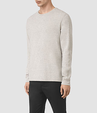 Hommes Crux Long Sleeve Crew T-Shirt (CHLK WHITE/ASH GRY) - product_image_alt_text_3