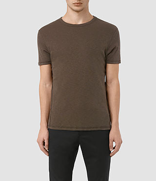Hommes Aries Crew T-Shirt (Khaki Brown)