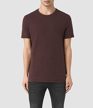Herren Aries Crew T-Shirt (Damson Red)
