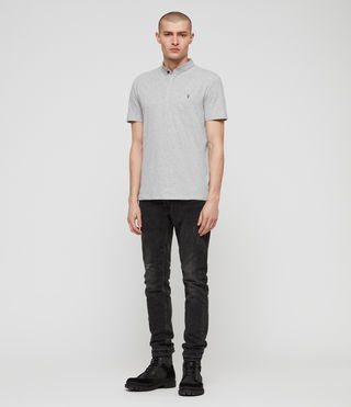 Mens Grail Polo Shirt (Grey Marl) - Image 3