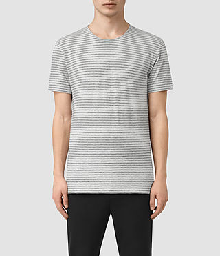 Hombres Serpenz Crew T-Shirt (GREY MARL/WHITE)