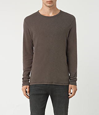 Mens Aries Long Sleeve Crew T-Shirt (Khaki Brown)