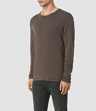 Uomo Aries Long Sleeve Crew T-Shirt (Khaki Brown) - product_image_alt_text_2