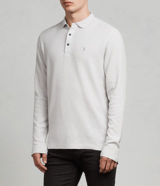 Men's Clash Ls Polo (Light Grey) - Image 3