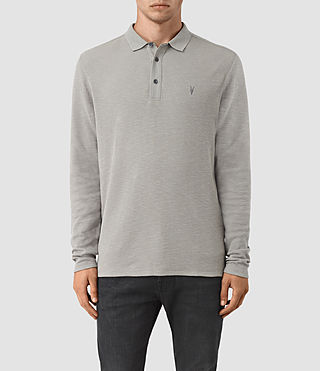 Herren Clash Long Sleeve Polo Shirt (Putty) -