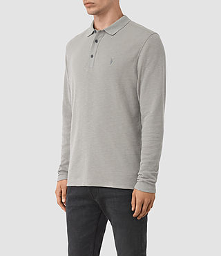 Herren Clash Long Sleeve Polo Shirt (Putty) - product_image_alt_text_2