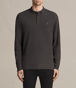 Hommes Clash Long Sleeve Polo Shirt (Washed Black) -