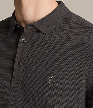 Men's Clash Long Sleeve Polo Shirt (Washed Black) - Image 2