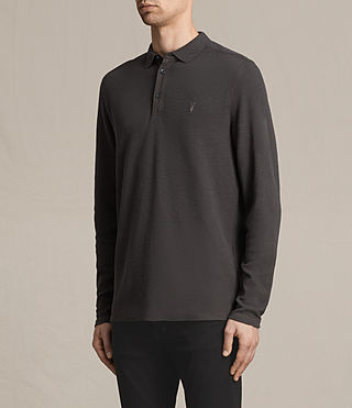 Hombres Clash Long Sleeve Polo Shirt (Washed Black) - product_image_alt_text_3