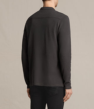Men's Clash Long Sleeve Polo Shirt (Washed Black) - Image 4