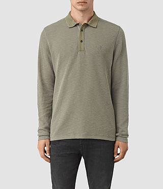 Hombres Clash Long Sleeve Polo Shirt (QUARRY GREY)