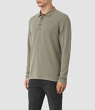 Hommes Clash Long Sleeve Polo Shirt (QUARRY GREY) - product_image_alt_text_2