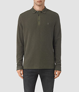 Hommes Clash Long Sleeve Polo Shirt (Pewter Brown)