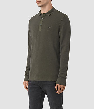 Men's Clash Long Sleeve Polo Shirt (Pewter Brown) - product_image_alt_text_2