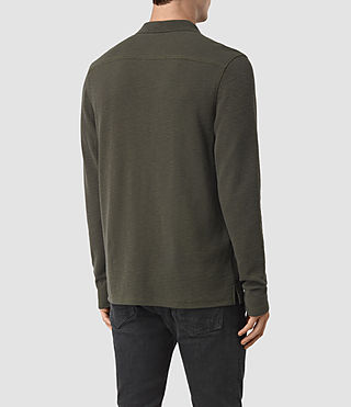 Uomo Clash Long Sleeve Polo Shirt (Pewter Brown) - product_image_alt_text_3