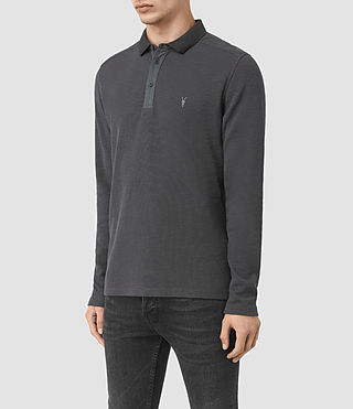 Men's Clash Long Sleeve Polo Shirt (IRON BLUE) - product_image_alt_text_3
