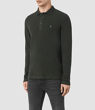 Herren Clash Long Sleeve Polo Shirt (Shadow Green) - product_image_alt_text_3