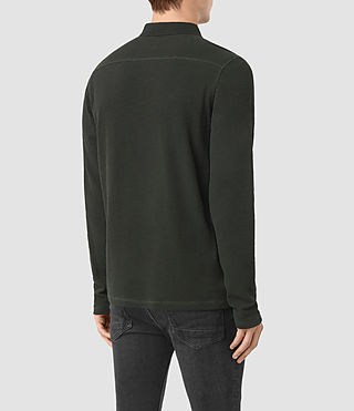 Hommes Clash Long Sleeve Polo Shirt (Shadow Green) - product_image_alt_text_4