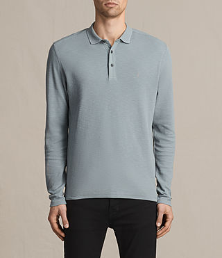 Hombres Clash Long Sleeve Polo Shirt (VISTA BLUE)
