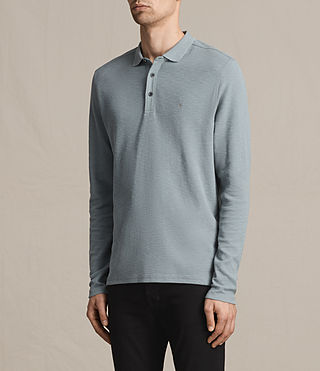 Hombres Clash Long Sleeve Polo Shirt (VISTA BLUE) - product_image_alt_text_3