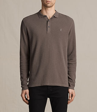 Mens Clash Long Sleeve Polo Shirt (KHAKI TAUPE) - product_image_alt_text_1