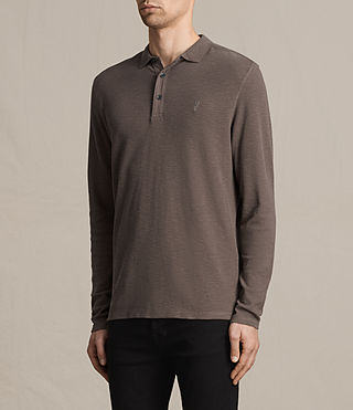 Uomo Clash Long Sleeve Polo Shirt (KHAKI TAUPE) - product_image_alt_text_3
